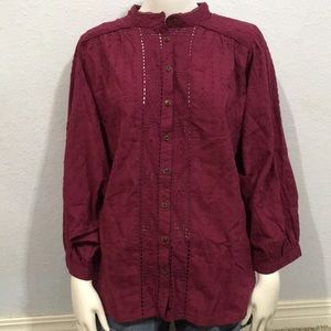 Anthropologie Maroon Button Down Blouse Large NWT